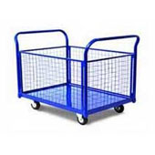 Platform trolley for warehouse,mesh border, steel, polymer coloring, 700*1250*850 mm.