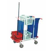Trolley for cleaning, 2 baskets, bag, 2 pails, curtains, steel, polymer coloring, 550*900*1100 mm.