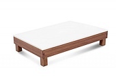 Service tray, plastic, stand in wood, walnut, 530*325*150 mm.