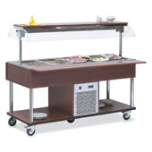 Buffet complements ROCAM EROS 5 R/M static refrigeration and digital thermostat, mobile upper sneezeguard, entirely made of stainless steel, LED light