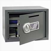 Safe deposit, electronic locking mechanism, key, steel, 350*250*250 mm.