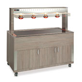 Buffet complements ROCAM ATHENA 4 PC/INFRA heated  with digital thermostat, upper sneezeguard, upper infrared lamps, plexiglass countertop