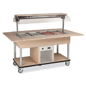 Buffet complements ROCAM EROS 4 R/M static refrigeration and digital thermostat, mobile upper sneezeguard, entirely made of stainless steel, LED light