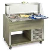 Buffet complements ROCAM ATHENA 3 RV/S with ventilated static refrigeration and digital thermostat, sneezeguard with frontal opening system, stainless