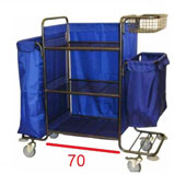 Housekeeping trolley with 3 shelfs, with linen bag, with 2 baskets in case, shelf for pails, steel, 550*1300*1300 mm.