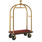 Luggage cart with integrated coat rail, stainless steel, red base, gold coloured frame, 1100*620*1900 cm.