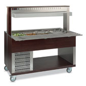 Buffet complements ROCAM ATHENA 4 R/F refrigerated regulated by digital thermostat, upper sneezeguard, stainless steel pans, lighting with neon lamp,