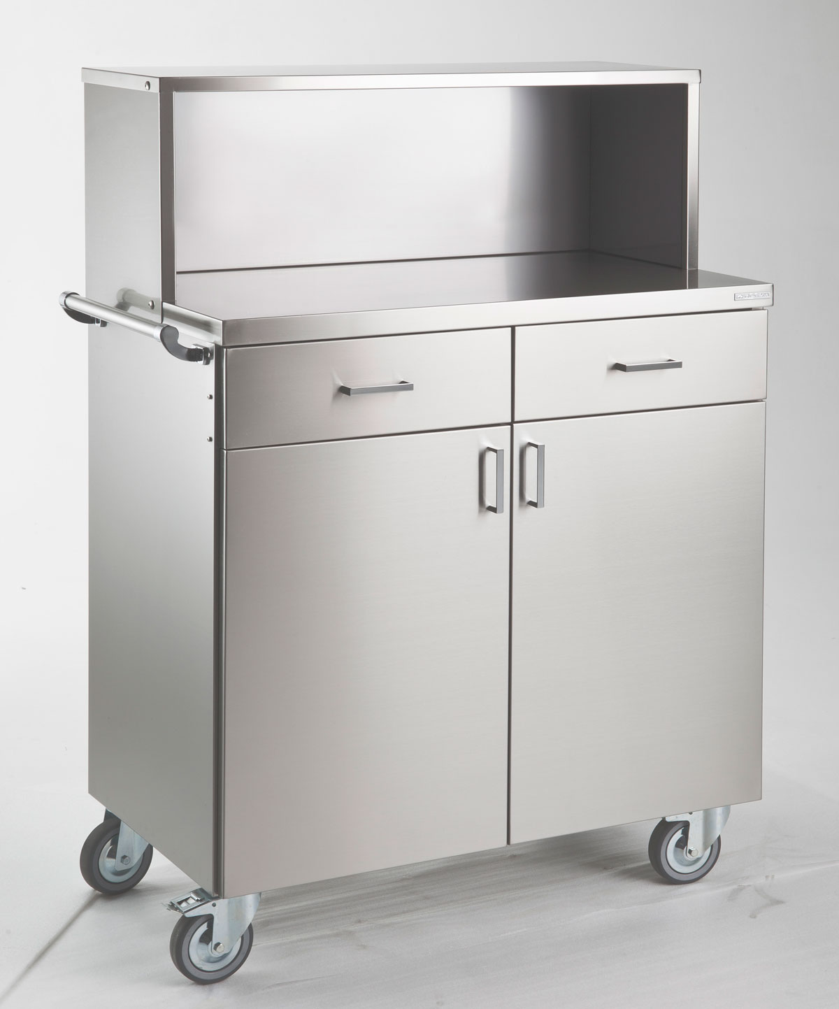 Waiter station ROCAM POLAR 2 AL INOX, 2 drawers, 2 doors, upper drawer closed by a small door, castors, handle, Stainless steel, 965*533*1052 mm.