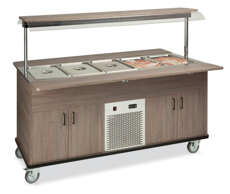 Buffet complements ROCAM EROS 5 R/F static refrigeration and digital thermostat, upper sneezeguard, entirely made of stainless steel, lighting with ne