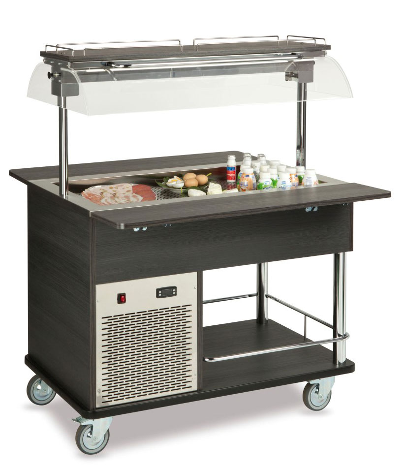 Buffet complements ROCAM EROS 3 R/M static refrigeration and digital thermostat, mobile upper sneezeguard, entirely made of stainless steel, LED light